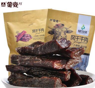 牛肉干 内蒙古风干正宗特产零食小吃 蒙亮原味手撕牛肉条500g